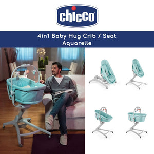 Chicco Baby Hug 4 in 1 Crib, Reclined Cradle, High Chair For Feeding and Baby's First Chair