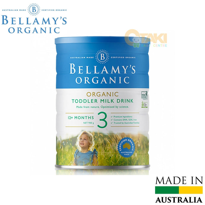 Bellamy's Organic Toddler Milk Drink 900g Step 3. Suitable From 1 Year Old. Premium Ingredients. Contain DHA, GOS, Iron