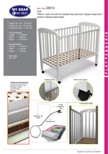 "Load image into Gallery viewer, My Dear Ramin Wooden Baby Cot 26012 White Color Size 24"" X 48"""