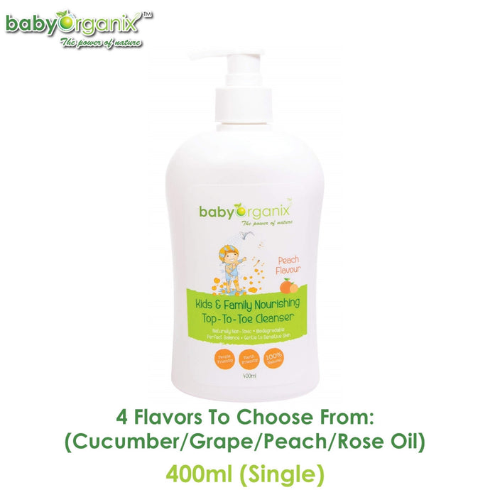 Baby Organix Kids & Family Top To Toe Cleanser 400ml Single (Available in Cucumber, Grape, Peach or Rose Oil Flavors)