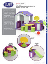 Load image into Gallery viewer, My Dear Playground Playhouse 29031 With Basketball Set, Side Table With Chairs and Children Slide