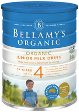 Load image into Gallery viewer, Bellamy's Organic Junior Milk Drink 900g Step 4. Suitable From 3 Years Old And Above. Rich In Calcium. Contain DHA, GOS & FOS. No Artificial Colors, Flavours.
