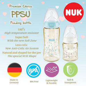 NUK Premium Choice+ PPSU Baby Feeding Bottle 300ml (Single) with Extra Soft 0-6 Months Silicone Teat