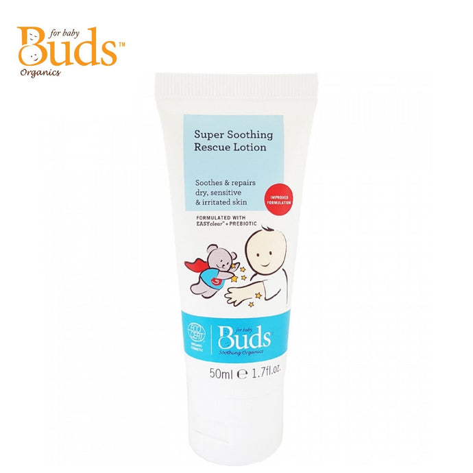 Buds Soothing Organics Super Soothing Rescue Lotion 50ml, Soothes & Repairs Dry, Sensitive & Irritated Skin (Expiry: 09/2022)