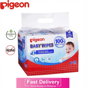 Pigeon 100% Pure Water Baby Wipes / Wet Tissues (6 x 80s Wipes) Expiry: 01/2023, Suitable For Eczema Prone Skin