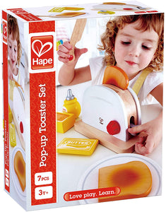 Hape 3148 White Wooden Pop Up Toaster Set, Pretend Play Kitchen Accessories for Kids Preschoolers