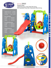 Load image into Gallery viewer, My Dear Children Playground 4 in 1 Slide and Swing 29020 with Basketball Ring & Ball