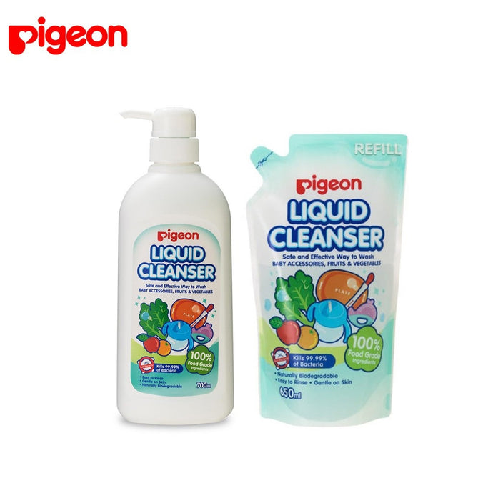 Pigeon 100% Food Grade Ingredients Liquid Cleanser (700ml Bottle + Refill 650ml Value Pack) Expiry: 06/2023