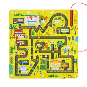Toi World Magnetic Maze Wooden Toy (Learn Traffic & Community Buildings)