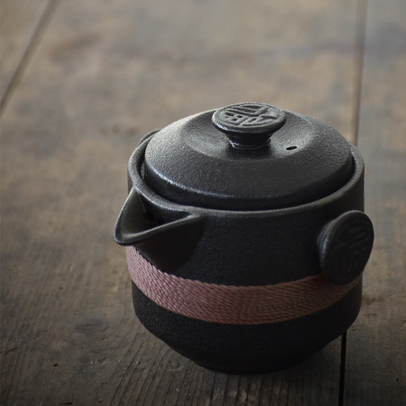 Black Ceramic Travel Tea Set
