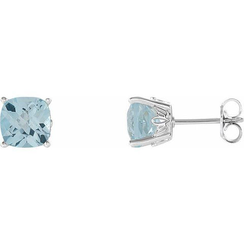 Sky Blue Topaz Cushion Cut Stud Earring - Henry D Jewelry