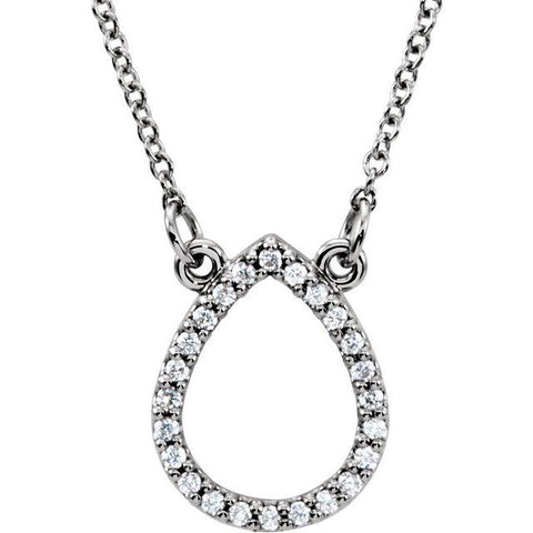 "Diamond Teardrop Necklace 1/10 ctw 16"" - Henry D Jewelry"