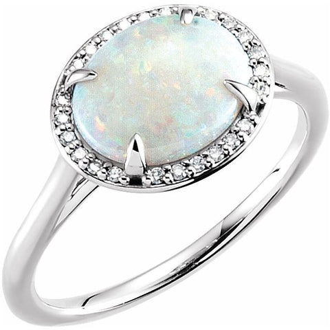 Opal & Diamond Ring .06 ctw