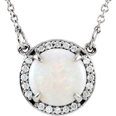"Opal & Diamond Halo Necklace .05 ctw 16"" - Henry D Jewelry"