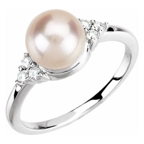 Freshwater Pearl & Diamond Ring 1/8 ctw