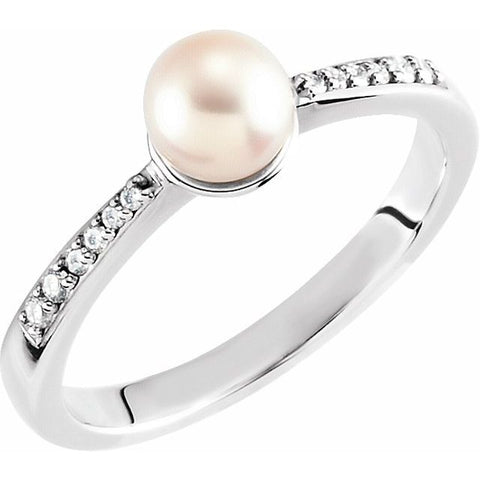 Freshwater Pearl & Diamond Ring .07 ctw- 14K White Gold