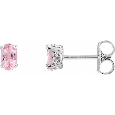 Morganite Oval Stud Earrings - 14K White Gold