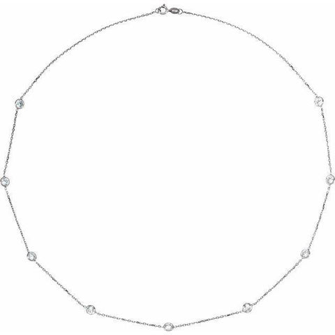 "Bezel-Set CZ Station Necklace 18"" - Sterling Silver"