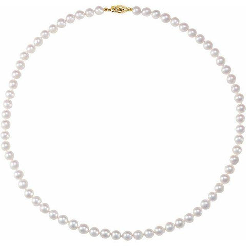 Akoya Pearl 6-6.5mm Necklace - 14K Yellow Gold - Henry D