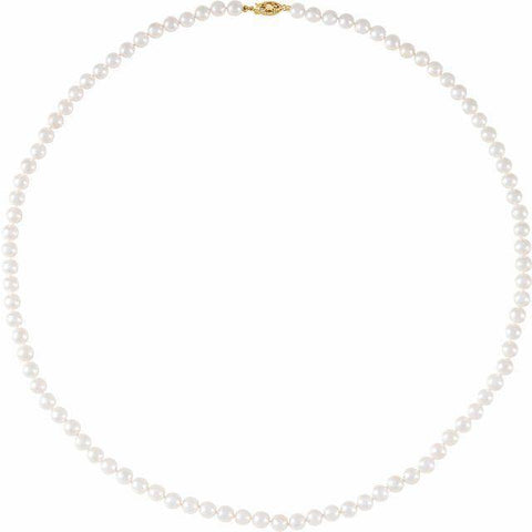 "Akoya Pearl 6-6.5mm Necklace 24"" - 14K Yellow Gold"