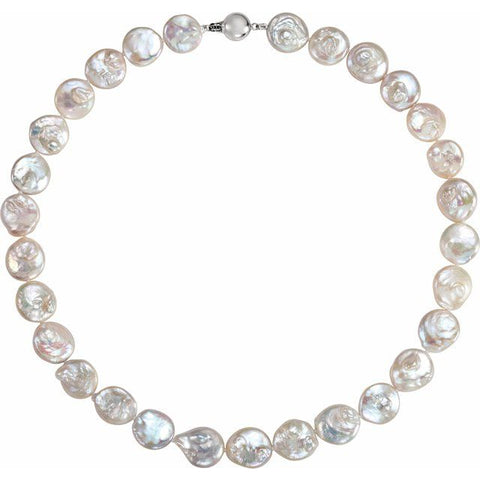 Coin Freshwater Pearl Necklace - Sterling Silver