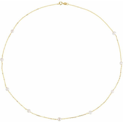 Freshwater Pearl Tincup Necklace - 14K Yellow Gold