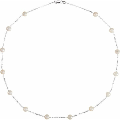 "Freshwater Pearl Tincup Necklace 18"" - Sterling Silver"