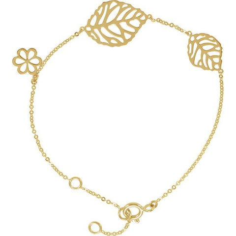 "Leaf & Floral-Inspired Bracelet 6.5-7.5"" - 14K Yellow Gold"