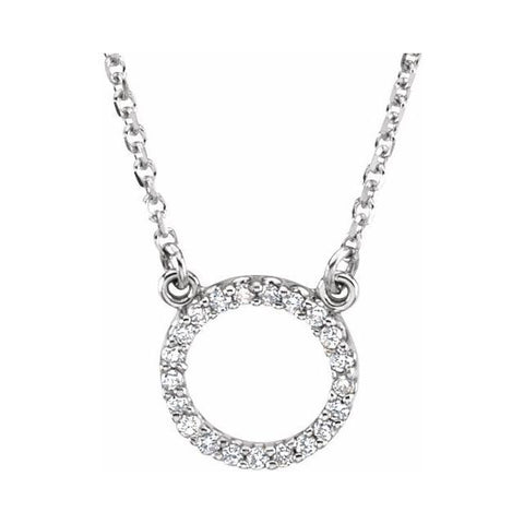 "Diamond Circle Necklace 1/10 ctw 16"" - Henry D Jewelry"