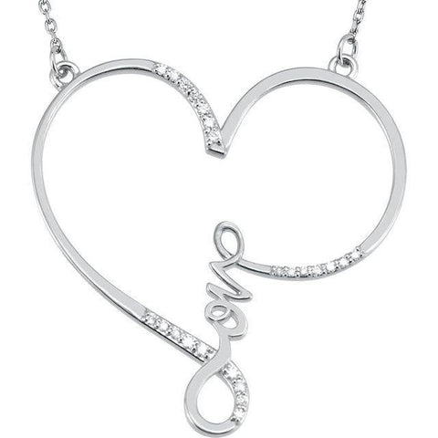 Diamond Heart Infinity-Inspired Love Necklace 1/8 ctw - Sterling Silver