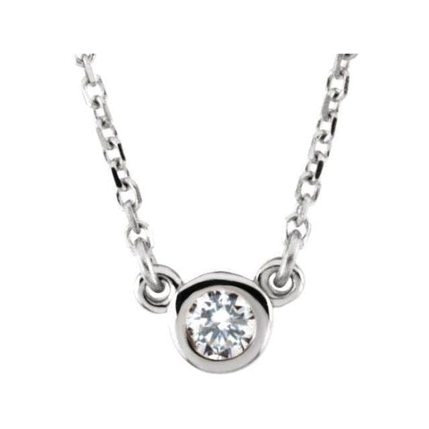 "Diamond Solitaire Necklace 1/10 ctw 18"" - Henry D Jewelry"