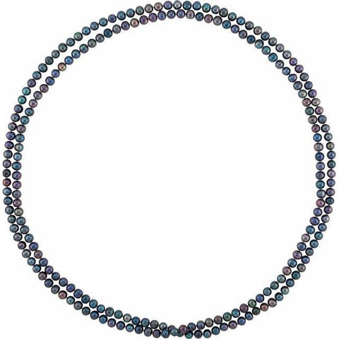 "Sterling Silver Black Freshwater Pearl 8-9mm Necklace 72"" - Henry D Jewelry"