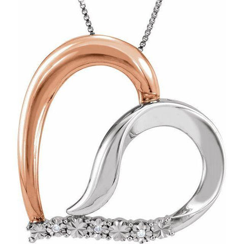 Diamond Heart Necklace .02 ctw - Sterling Silver