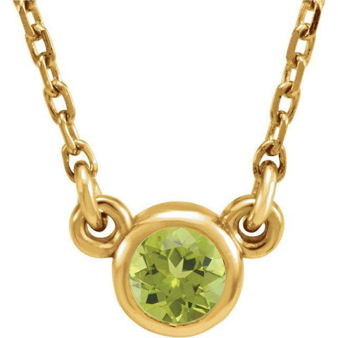 "Peridot Solitaire Necklace 16"" - Henry D Jewelry"
