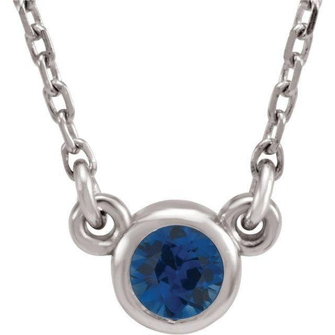 "Blue Sapphire Solitaire Necklace 16"" - Henry D Jewelry"