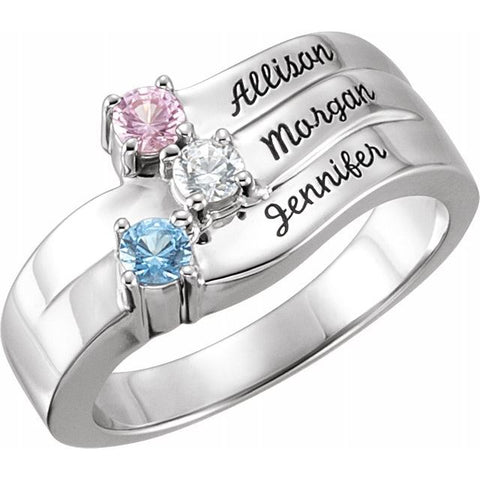 Engravable 3 Stone Family Ring - Sterling Silver