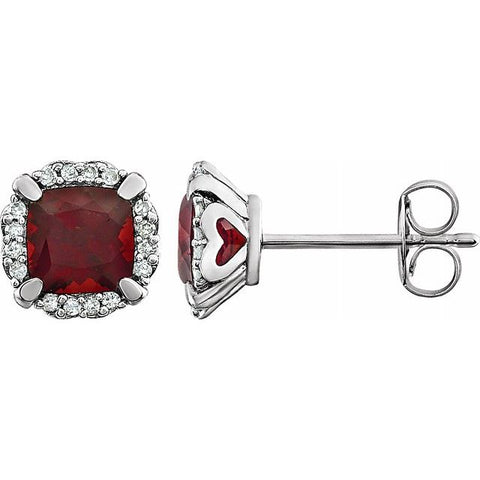Garnet & Diamond Halo Earrings 1/10 ctw - 14K White Gold