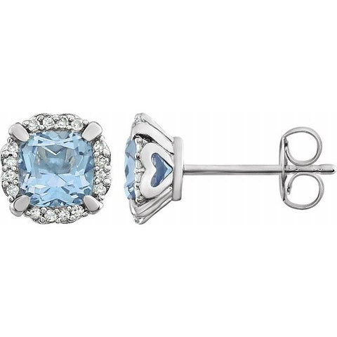 Sky Blue Topaz & Diamond Halo Earrings 1/10 ctw  - 14K White Gold