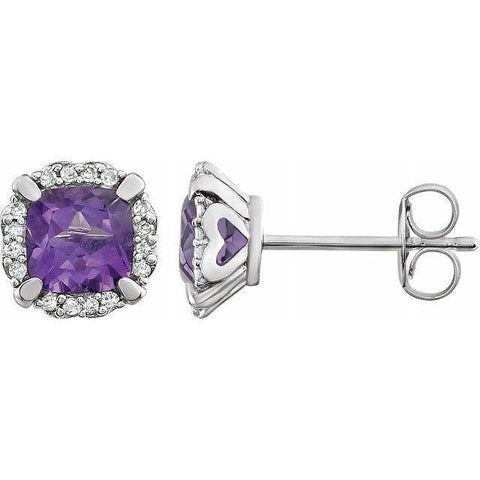 Amethyst & Diamond Halo Earrings 1/10 ctw - 14K White Gold