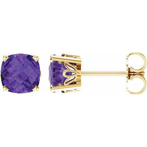 Amethyst Cushion Cut Stud Earrings