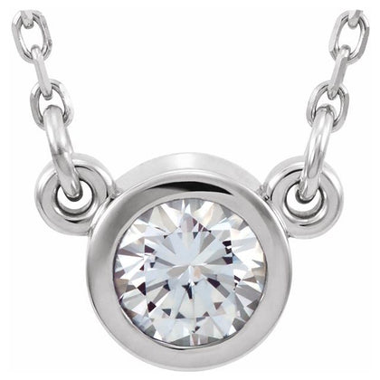 White Sapphire Solitaire Necklace - 14K White Gold