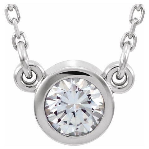 "White Sapphire Solitaire Necklace 16"" - 14K White Gold"