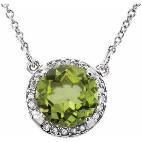 "Peridot & Diamond Halo .05 ctw Necklace 16"" - Henry D Jewelry"