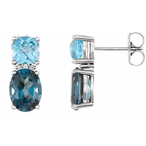 London Blue Topaz, Swiss Blue Topaz & Diamond Earrings .01 ctw - 14K White Gold