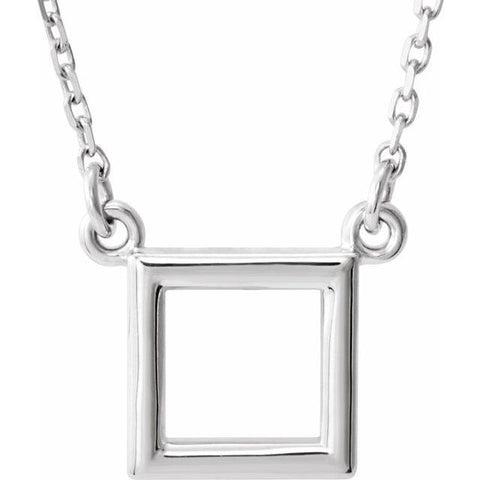 "Petite Square Necklace 16.5"" - Henry D Jewelry"