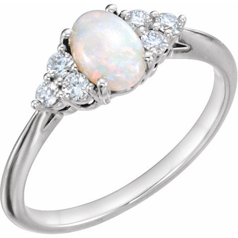 Opal & Diamond Ring 1/5 ctw