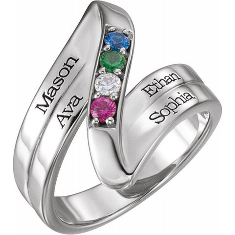 Engravable 4 Stone Family Ring - Sterling Silver