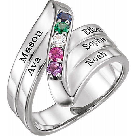 Engravable 5 Stone Family Ring - Sterling Silver