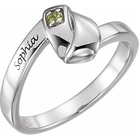 Engravable 1 Stone Family Ring - Sterling Silver