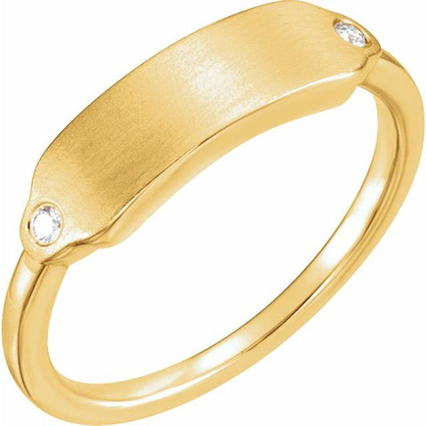 Engravable Rectangle Diamond Signet Ring .03ctw
